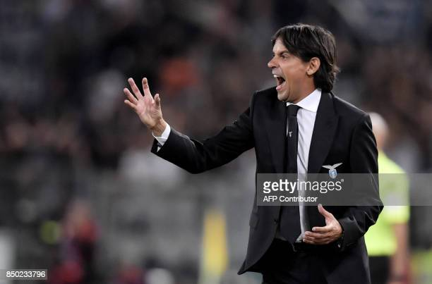 Lazio's Italian coach Simone Inzaghi gestures during the Italian Serie A football match between Lazio and Napoli at Olympic Stadium in Rome on...