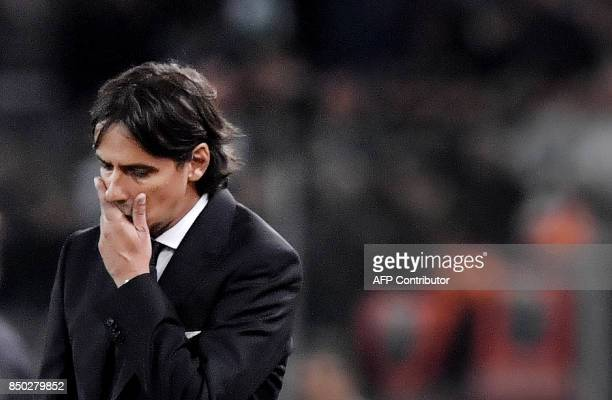 Lazio's Italian coach Simone Inzaghi reacts during the Italian Serie A football match between Lazio and Napoli at Olympic Stadium in Rome on...