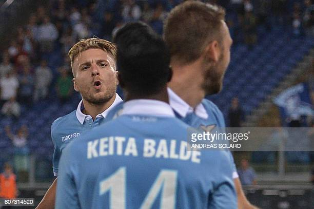 Lazio's Italian midfielder Ciro Immobile celebrates after scoring a goal during the Italian Serie A football match Lazio vs Pescara on September 17...