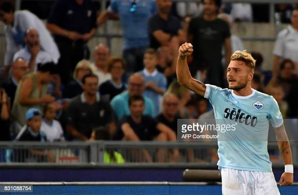 Lazio's midfielder Ciro Immobile celebrates after scoring a penalty during the Italian SuperCup TIM football match Juventus vs lazio on August 13...