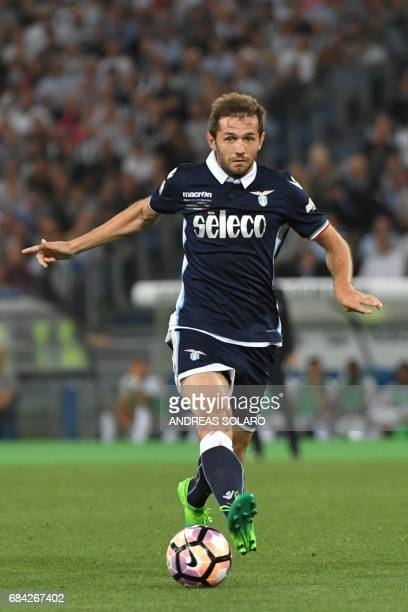 Lazio's midfielder from BosniaHerzegovina Senad Lulic controls the ball during the Italian Tim Cup final on May 17 2017 at the Olympic stadium in...