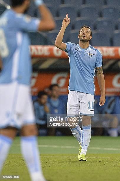 Lazio's midfielder from Brazil Felipe Anderson celebrates after scoring a goal during the Italian Serie A football match Lazio vs Genoa on September...