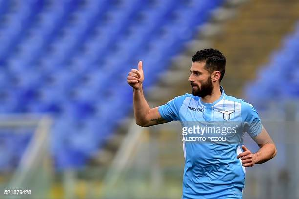 Lazio's midfielder from Italy Antonio Candreva celebrates after scoring a penalty kick during the Italian Serie A football match Lazio vs Empoli on...