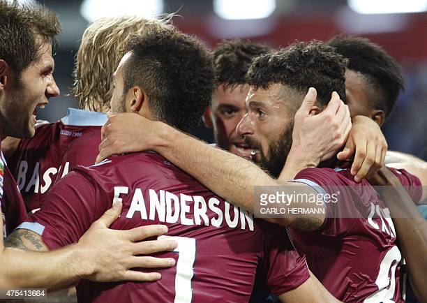 Lazio's midfielder from Italy Antonio Candreva celebrates after scoring with teammate during the Italian Serie A football match SSC Napoli vs SS...