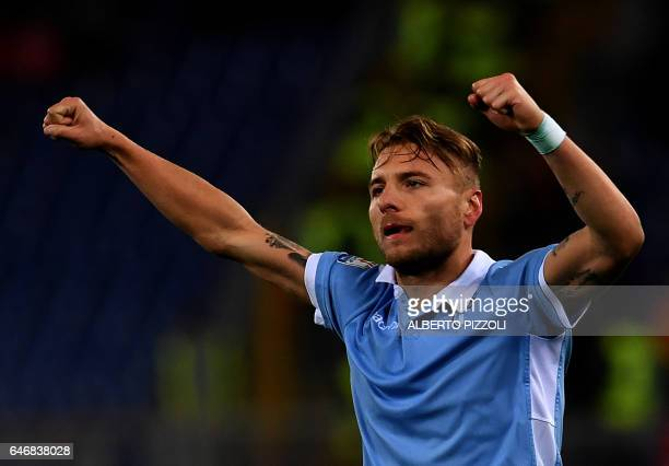 Lazio's midfielder from Italy Ciro Immobile celebrates after scoring during the Italian TIM Cup 1st leg semifinal football match on March 1 2017 at...