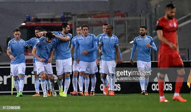 Lazio's midfielder from Italy Marco Parolo celebrates after scoring during the UEFA Europa League football match Lazio vs Galatasaray on February 25...