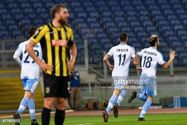 Lazio's midfielder from Spain Luis Alberto celebrates with his teammates after scoring during the UEFA Europa League football match Lazio vs Vitesse...