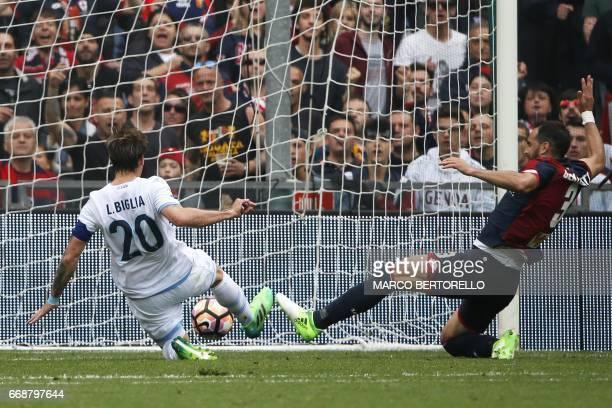 Lazio's midfielder Lucas Biglia from Argentina scores during the Italian Serie A football match Genoa Vs Lazio on April 15 2017 at the 'Luigi...