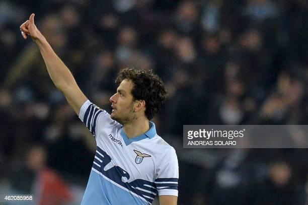 Lazio's midfielder Marco Parolo celebrates after scoring during the Italian Serie A football match AC Milan vs Lazio at Rome's Olympic stadium on...