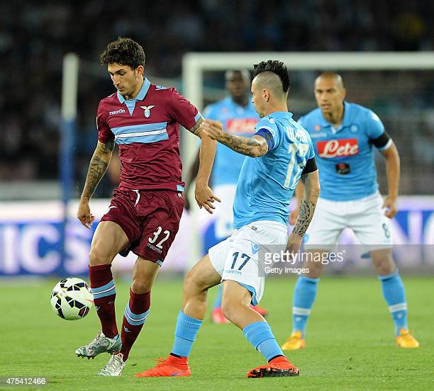 Lazio's player Danilo Cataldi vies with SSC Napoli player Marek Hamsik during the Serie A match between SSC Napoli and SS Lazio at Stadio San Paolo...