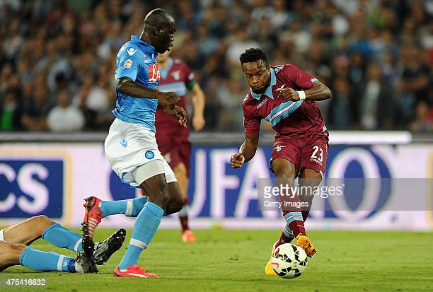 Lazio's player Ogenyi Onazi scores the goal of 32 during the Serie A match between SSC Napoli and SS Lazio at Stadio San Paolo on May 31 2015 in...