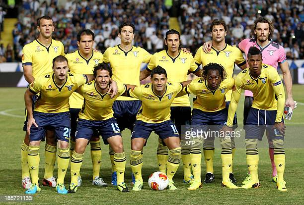 Lazio's players pose for a family picture before the UEFA Europa League football match Apollon Limassol FC versus SS Lazio on October 24 2013 at the...