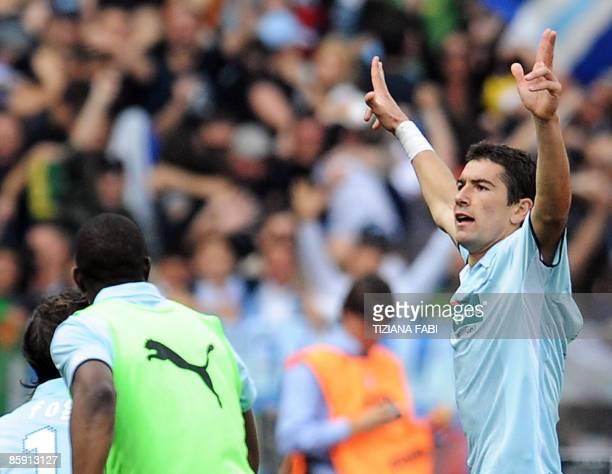 Lazio's Serbian defender Aleksandar Kolarov celebrates after scoring during the Italian serie A football match AS Roma against Lazio on April 11 2009...
