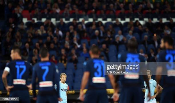 Lazio's Serbian defender Dusan Basta and Lazio's Spanish midfielder Luis Alberto look on during the Italian Serie A football match between Lazio and...