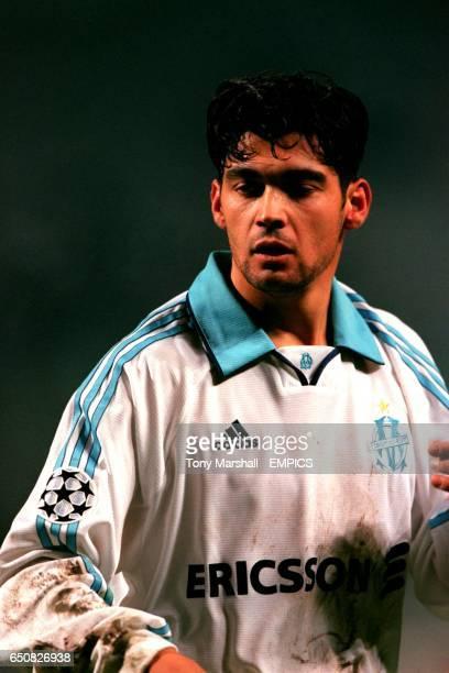 Lazio's Sergio Conceicao wearing an Olympique Marseille shirt