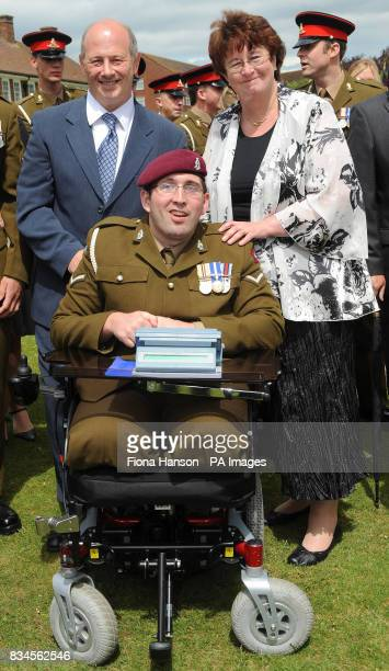 LBdr Ben Parkinson who lost both legs while serving with the 7th Parachute Regiment Royal Horse Artillery in Afghanistan with parents Diane Dernie...