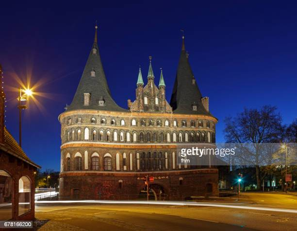 Lübeck, Holstentor at blue hour (Schleswig-Holstein, Germany)