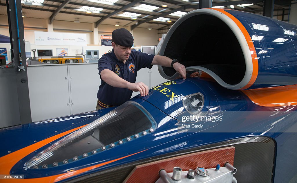 LCpl Darren King from the Royal Electrical and Mechanical Engineers checks over the Bloodhound SSC vehicle at the design centre in Avonmouth on...