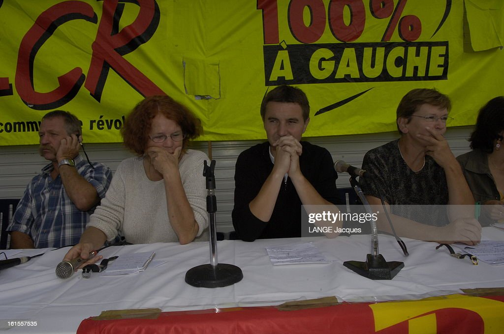 Lcr Summer University In Port-leucate. Université d'été de la Ligue communiste révolutionnaire à Port-Leucate, dans l'Aude : José BOVE, Olivier BESANCENOT, Marie-George BUFFET.
