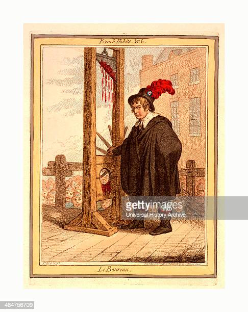 Le Boureau Gillray James 17561815 Engraving 1798 George Tierney Dressed As An Executioner Standing Next To A Guillotine With A Crowd Of Libertycapped...