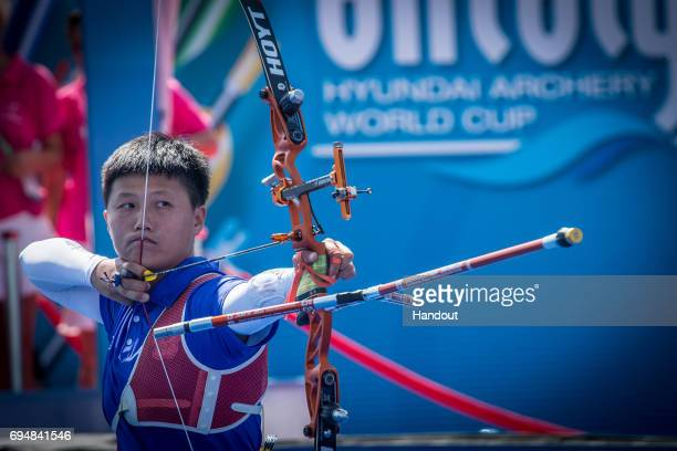 Le Chien Ying of Chinese Taipei shoots during the Women's recurve individual finals during the Hyundai Archery World Cup 2017 Stage 2 on June 11 2017...
