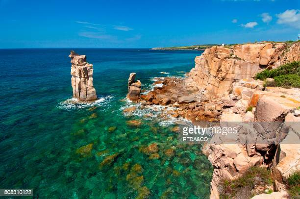 Le Colonne stacks Carloforte St Pietro Island Carbonia Iglesias district Sardinia Italy Europe