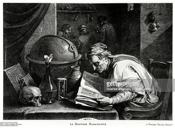 Le Docteur Alchimiste engraving by Jacques Nicolas Tardieu after a painting by David Teniers showing an alchemist peering over a book while his...