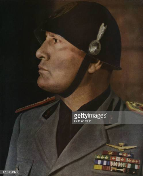 'Le Duce' Mussolini From Signal December 1940 French language news magazine published by Nazis 'Le regard fixant hardiment le lointain le Duce chef...