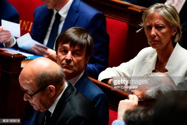 le French Foreign Affairs Minister JeanYves Le Drian French Minister for the Ecological and Inclusive Transition Nicolas Hulot and French Junior...
