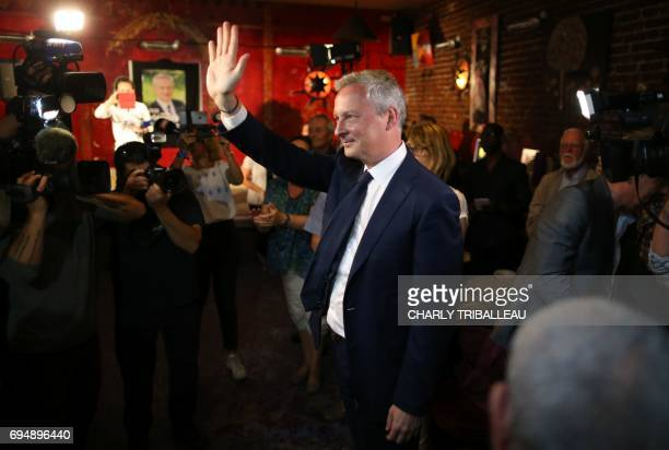 Le French Minister of Economy and parliamentary candidate Bruno Le Maire arrives to give a speech after polls closed for the first round of the...