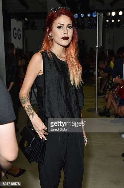 Le Happy Blogger Luanna PerezGarreaud attends the Nicole Miller Spring 2017 Fashion Show at Skylight Clarkson Square on September 9 2016 in New York...