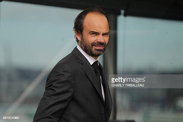 Le Havre's mayor Edouard Philippe is pictured on October 6 2015 in Le Havre harbour northwestern France AFP PHOTO/CHARLY TRIBALLEAU