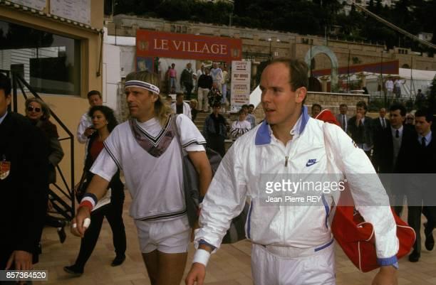 Le joueur de tennis suedois Bjorn Borg et le Prince Albert au tournoi de MonteCarlo le 18 avril 1991 a MonteCarlo Monaco
