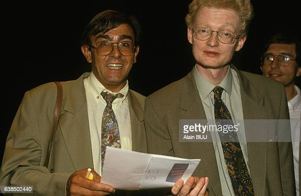 Le juge Thierry JeanPierre et l'inspecteur et juriste Antoine Gaudino à la journée d'été des Verts le 30 août 1991 à Saumur France