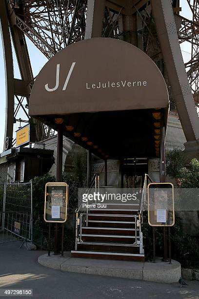 Le Jules Verne restaurant at The Eiffel tower is closed for security reasons following Friday's terrorist attack on November 15 2015 in Paris France...