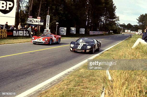 Le Mans 24 Hours 19th June 1966 1 Car no 2 Bruce McLaren/Chris Amon Ford Mk II race winner and car no 16 Richard Attwood/David Piper Ferrari 365 P2...