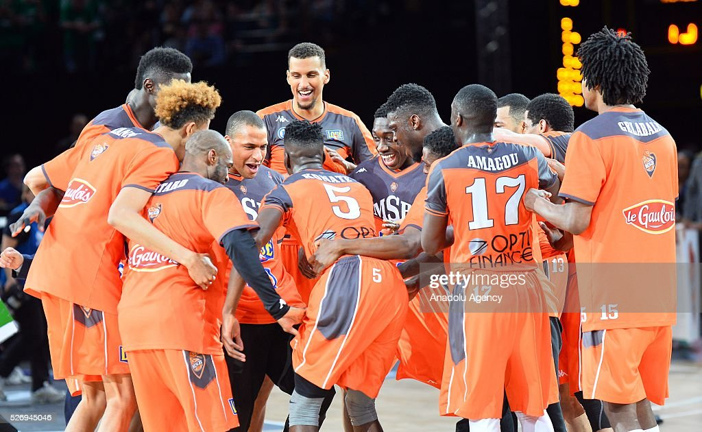 Le Mans players celebrate victory after the Basketball men's National Cup Final match between ASVEL and Le Mans at Hotel Accor Arena Bercy on May 1, 2016 in Paris, France.