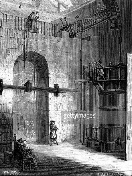 Le marquis Claude François Dorothée de Jouffroy étudiant la pompe à feu de Chaillot à Paris en France