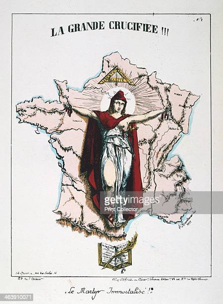 'Le Martyr Immortalise' allegory of Republican France 1871 Cartoon from a series titled La Grande Crucifiee depicting Marianne as Republican France...