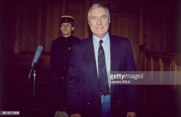 Le mercenaire Bob Denard dans le prétoire de la 12e chambre correctionnelle le 10 mars 1993 à Paris France