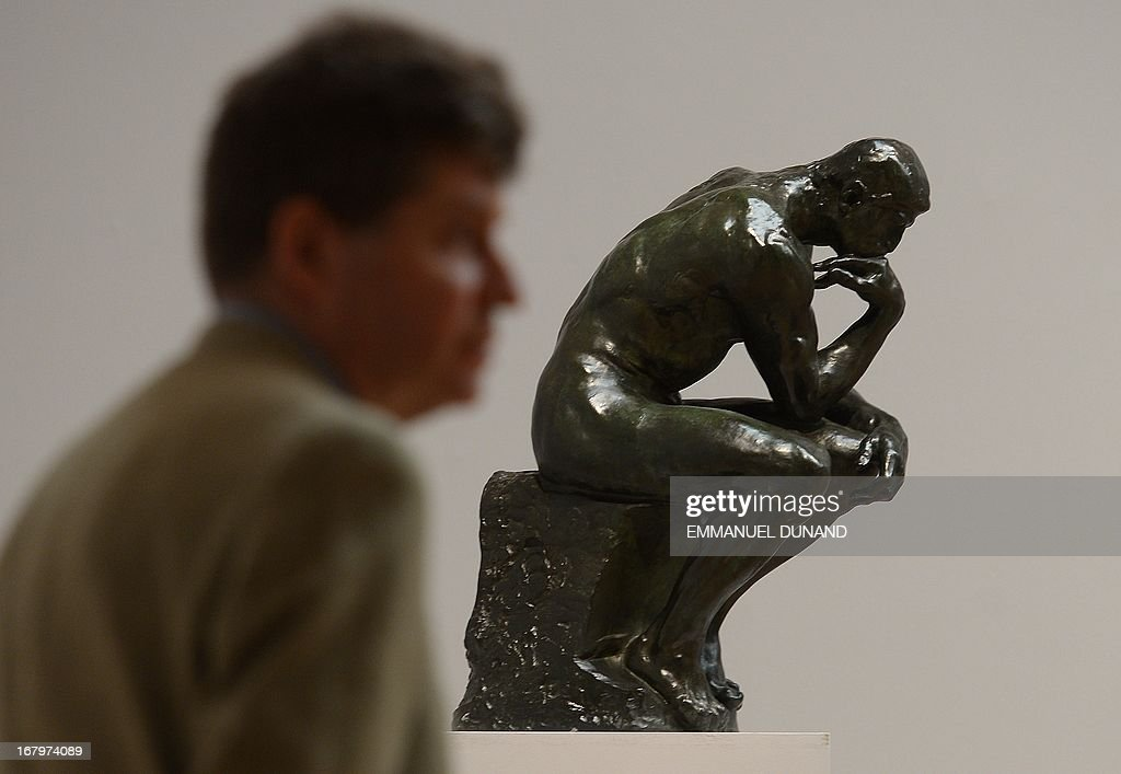 'Le Penseur' by Auguste Rodin is on display during a preview of Sotheby's Impressionist and Modern Art sales in New York on May 3, 2013. Sotheby's is scheduled to hold its Impressionist and Modern Art sales May 7. AFP PHOTO/Emmanuel Dunand ++RESTRICTED