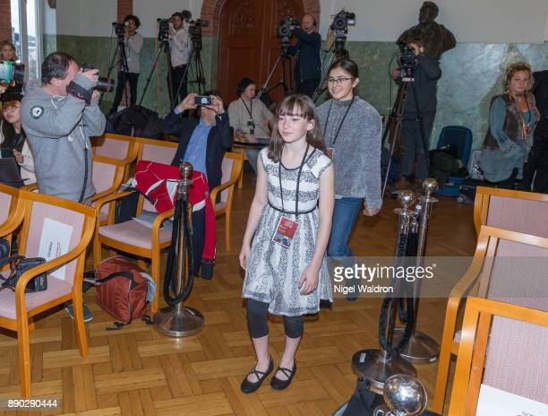 Le Petit Cirque Youth Performance Company attend the press conference ahead of the Nobel Peace Prize Concert 2017 at the Norwegian Nobel Institute on...
