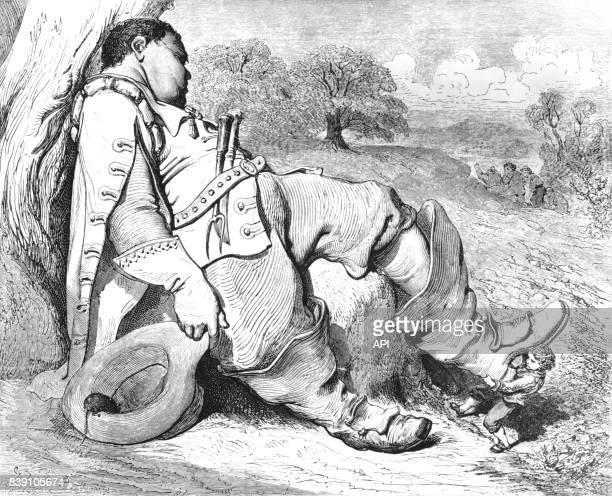 Le Petit Poucet tirant les bottes de l'ogre illustration de Gustave Doré extraite d'un recueil des 'Comtes de Perrault' de Charles Perrault