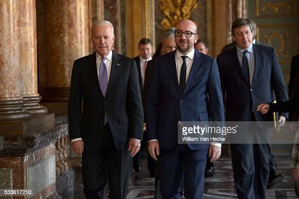 Le Premier Ministre Charles Michel le Ministre des Affaires étrangères Didier Reynders et le Ministre de la Sécurité et de l'Intérieur Jan Jambon...
