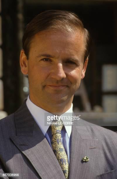 Le president de la joaillerie Boucheron de la Place Vendome Alain Boucheron lance une ligne de pin's en or le 2 aout 1991 a Paris France