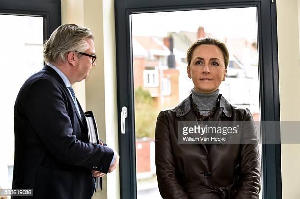 Le Prince Laurent et la Princesse Claire assistent à l'inauguration d'un immeuble rénové à Schaerbeek par Renovassistance asbl La Princesse Claire...