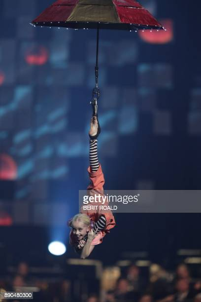 Le Retit Cirque performs on stage during the Nobel Peace Prize Concert to honor the peace prize laureates ICAN in Fornebu Norway on December 11 2017...