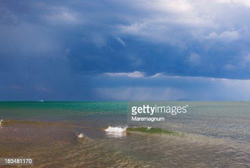 Le Rocchette view from the Roccamare beach : Stock Photo