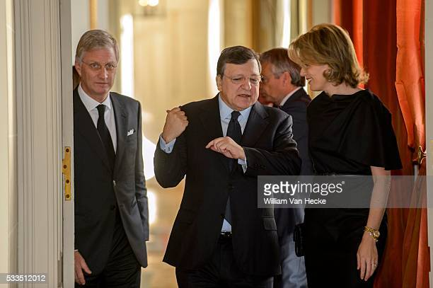 Le Roi et la Reine reçoivent José Manuel Durão Barroso ancien Président de la Commission européenne pour un déjeuner au Château de Laeken Koning...