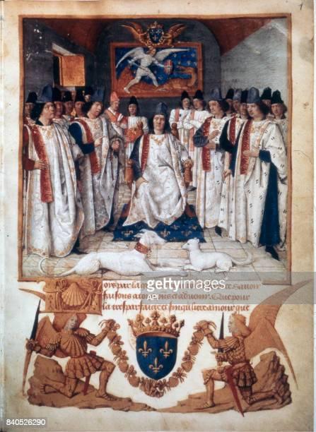 Le roi Louis XI présidant l'ordre de chevalerie de SaintMichel miniature par Jean Fouquet